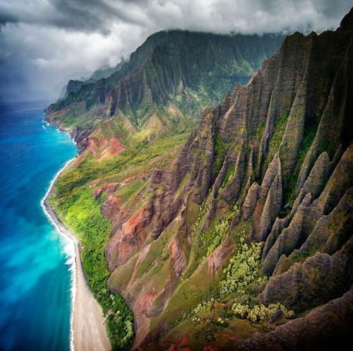Aerial views of the Na Pali Coast, Kauai